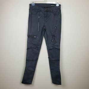 NWOT Blank NYC Gray Zippered Moto Jeans Hi Rise 26